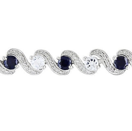 Other Sterling Silver Sapphire And White Sapphire Bracelet 7.25 7.44 Ct