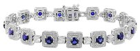 Sterling Silver Created Sapphire And Created White Sapphire Bracelet 7 5.8 Ct