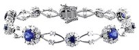Other Sterling Silver Sapphire And White Sapphire Bracelet 7 7.3 Ct