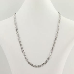 Braided Double Curb Chain Necklace 18 - 14k White Gold Womens