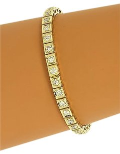 Breathtaking 14k Yellow Gold Carats Diamonds Ladies Tennis Bracelet