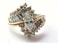 Fine Marquise Engagement Diamond Ring Yg 1.38ct