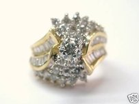 Fine Diamond Solitaire Cluster Engagment Ring 1.48ct