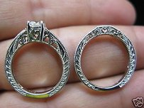 Antique Inspired Round Diamond Solitaire W Accents Engagment Set 1.26ct 14kt