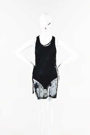 f7f7c5f366938 Damir Doma Black Sheer Lace Racerback Tank Top  19831298 - Tank Tops    Camis free