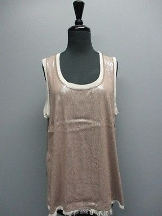 73a96dfa6a31c2 By Chicos Brown Sequin Sleeveless Scoop Neck Casual Tank Top Sma6678  #17950993 - Tank Tops