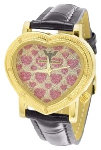Other Canary Red Iced Hearts Dial 14k Gold Finish Bezel Leather Band Kc Womens Watch