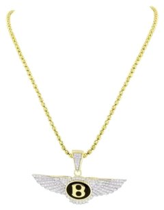 Other Car Logo Pendant Bentley Chain Gold Finish Simulated Stones Sterling Silver
