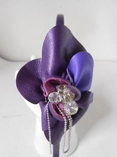 Cara Couture York Purple Leather Crystal Chain Flower Headband