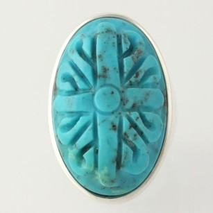 Carved Turquoise Ring - Sterling Silver Chunky Oval Stone Solitaire Womens