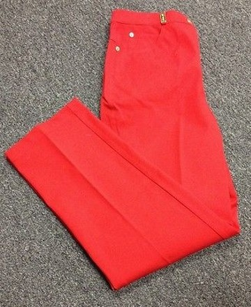 St John Sport Essentials Red Cotton Gold Tone Hardware Casual Pant Sma9069 #19857608 - Pants durable service