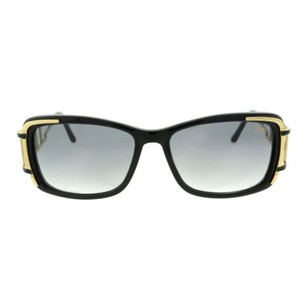 Cazal 8009 Color 001 Full Black Gold Plastic Rim Womans Sunglasses