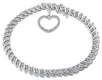 Sterling Silver Diamond Accent Link Heart Charm Bracelet 1 Ct Cttw H-i I3 7