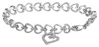 Other Sterling Silver 12 Ct Diamond Heart Love Chain Bracelet H-i-j I3 7 Inch 925