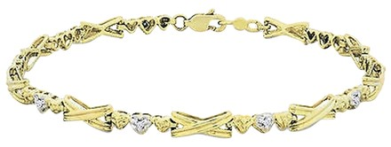 Other 10k Yellow Gold Diamond Accent Link Bracelet 0.05 Ct G-h I2-i3 7.5
