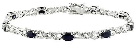 Other Sterling Silver Accent Diamond And Black Sapphire Bracelet 3.065 Ct H-i I3 7