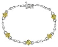 Sterling Silver Accent Diamond Citrine Chain Link Bracelet 2.51 Ct H-i I3 7