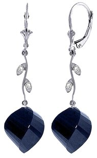 30.52 CT 14k White Gold Diamond and Blue Sapphire Earrings