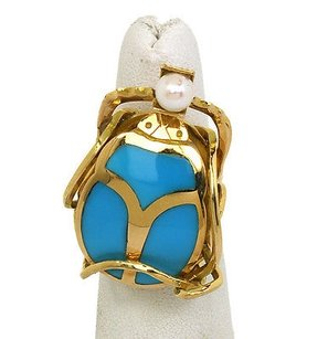 Charming 18k Yellow Gold 3d Turquoise Pearl Beetle Ring
