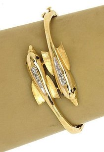 Other Charming 18k Yellowgold Diamond Sapphire Double Dolphin Bypass Bangle Bracelet