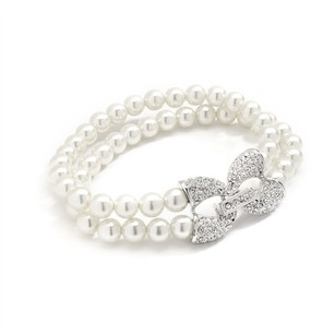 Silver/Rhodium Chic Two Strands Pearls Crystal Pave Bracelet