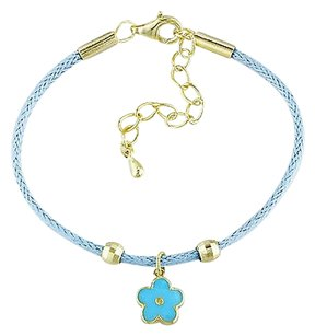 Sterling Silver Childrens Blue Flower Nature Bracelet 5.5
