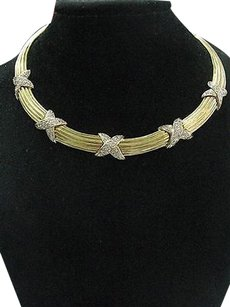Other Fine Round Diamond Pave Yellow Gold X Chokernecklace