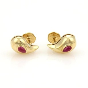 Chopard Cabochon Rubies 18k Yellow Gold Curved Pear Shape Stud Earrings Wcert