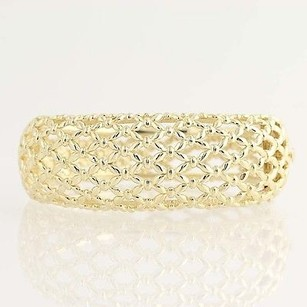 Other Chunky Bangle Bracelet - 14k Yellow Gold Lattice Openwork Womens 7 57.9g