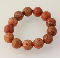 Other Chunky Beaded Bracelet - Brown Jasper Stone Beads Stretchy Band Womens