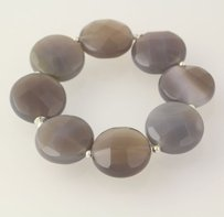 Chunky Beaded Bracelet Stretch Band Gray Agate Stone Beads Sterling Silver