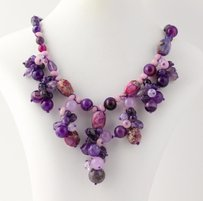 Chunky Beaded Necklace - Silver Clasp Purple Agate Amethyst Jasper Fringe
