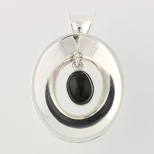 Chunky Drop Pendant - Sterling Silver Black Onyx Solitaire 925 Womens Mexico