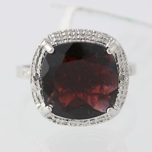 Chunky Garnet Cocktail Ring - Sterling Silver Diamond Accents Halo 6.49ct