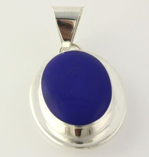 Other Chunky Oval Pendant - Sterling Silver 925 Enamel Geomotric Womens Fashion