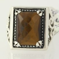 Other Chunky Tigers Eye Ring - Sterling Silver 925 Brown Stone 7.75 Scroll Work