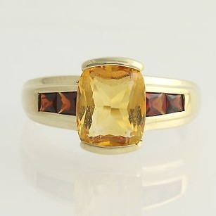 Citrine Garnet Ring - 10k Yellow Gold November Birthstone 3.70ctw