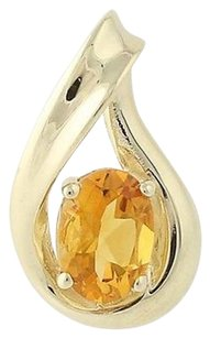 Citrine Pendant - 10k Yellow Gold November Birthstone Solitaire .85ct