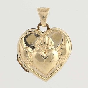 Claddagh Heart Picture Locket Pendant - 14k Yellow Gold Vintage Irish