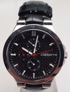 Other Claiborne Clm1047 Mens Leather Band Black Dial Chronograph Watch