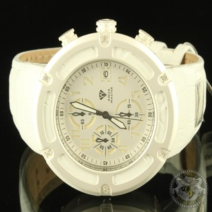 Other Classy Hip Hop White Leather Band Diamond Aqua Master Father Special Watch Jojo