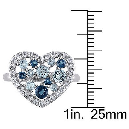 Other Sterling Silver 2.06 Ct White And Sky London Blue Topaz Heart Love Ring