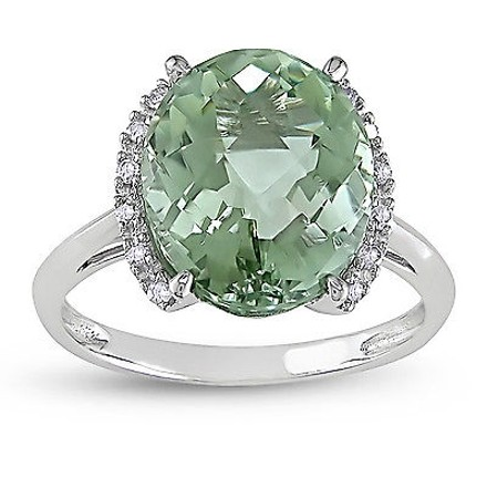 Other 10k White Gold Diamond And 4 Ct Tgw Green Amethyst Fashion Ring Gh I2i3