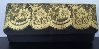 Black With Lace Gold Clutch
