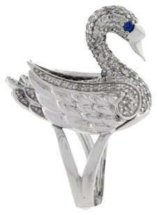 14k,White,Gold,1.70ct,Diamond,And,Blue,Sapphire,Ladies,Swan,Ring