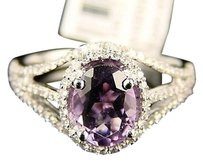 14k Ladies Purple Amethyst Round Cut Diamond Ring