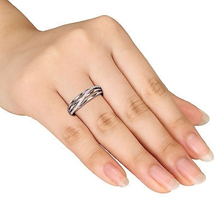 Other Sterling Silver Diamond Fashion Twist Crossover Engagement Ring I3