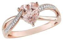 Other Pink Silver 1.151 Ct Tw Diamond Morganite Swivel Crossover Heart Love Ring