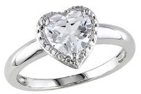 1 78 Ct Tgw White Sapphire Fashion Heart Love Ring In Sterling Silver