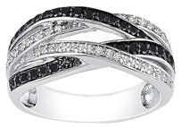 Sterling Silver 12 Ct Black And White Diamond Crossover Fashion Cocktail Ring